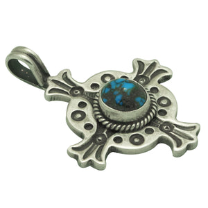 Bo Reeves, Pendant, Lone Mountain Turquoise, 4 Directions, Navajo Made, 1 1/2""