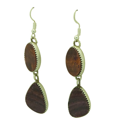 Load image into Gallery viewer, Selena Warner, Earrings, Double Purple Spiny Oyster Shell, Navajo Made, 2 1/2""
