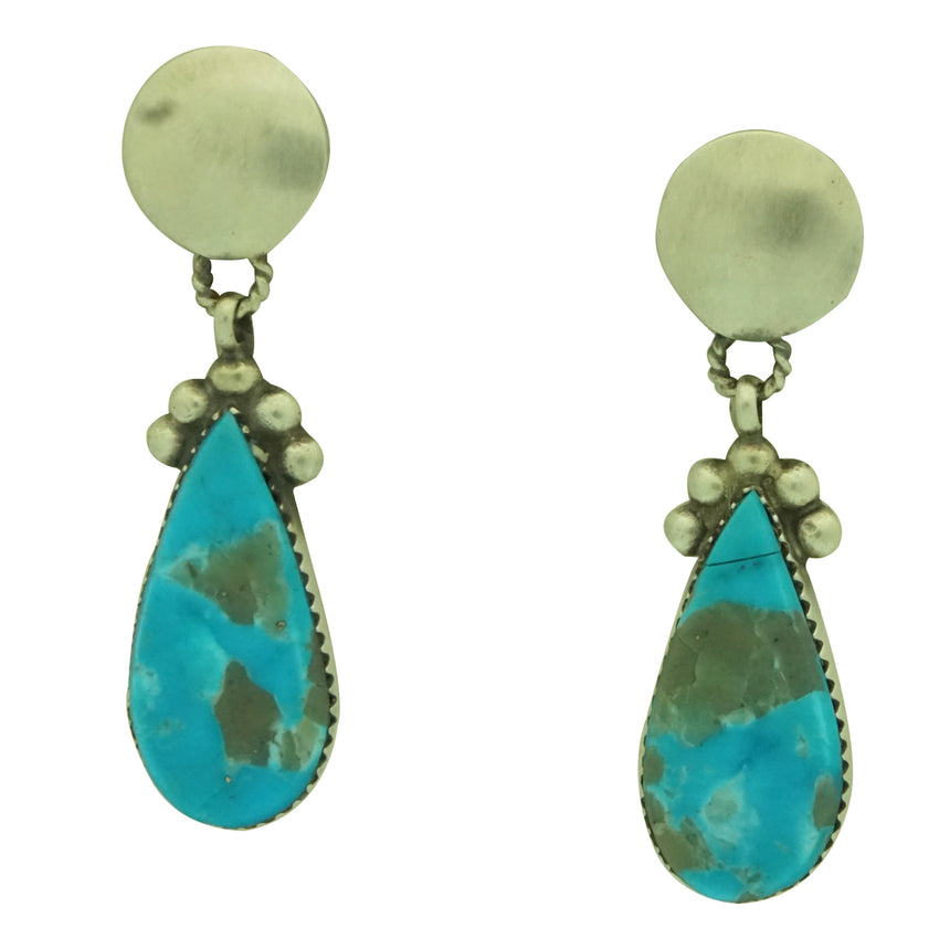 Selena Warner, Earrings, Kingman Turquoise, Pear Shape, Navajo Made, 1 3/4