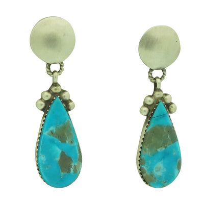 Load image into Gallery viewer, Selena Warner, Earrings, Kingman Turquoise, Pear Shape, Navajo Made, 1 3/4""