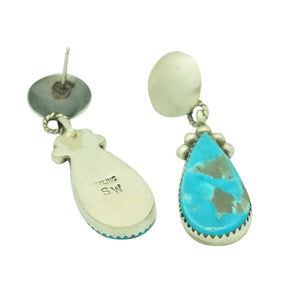Selena Warner, Earrings, Kingman Turquoise, Pear Shape, Navajo Made, 1 3/4""