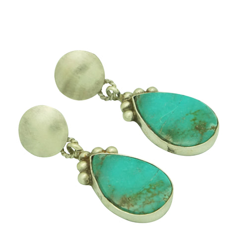 Selena Warner, Earrings, Turquoise Mountain, Pear Shape, Navajo Made, 1 3/4