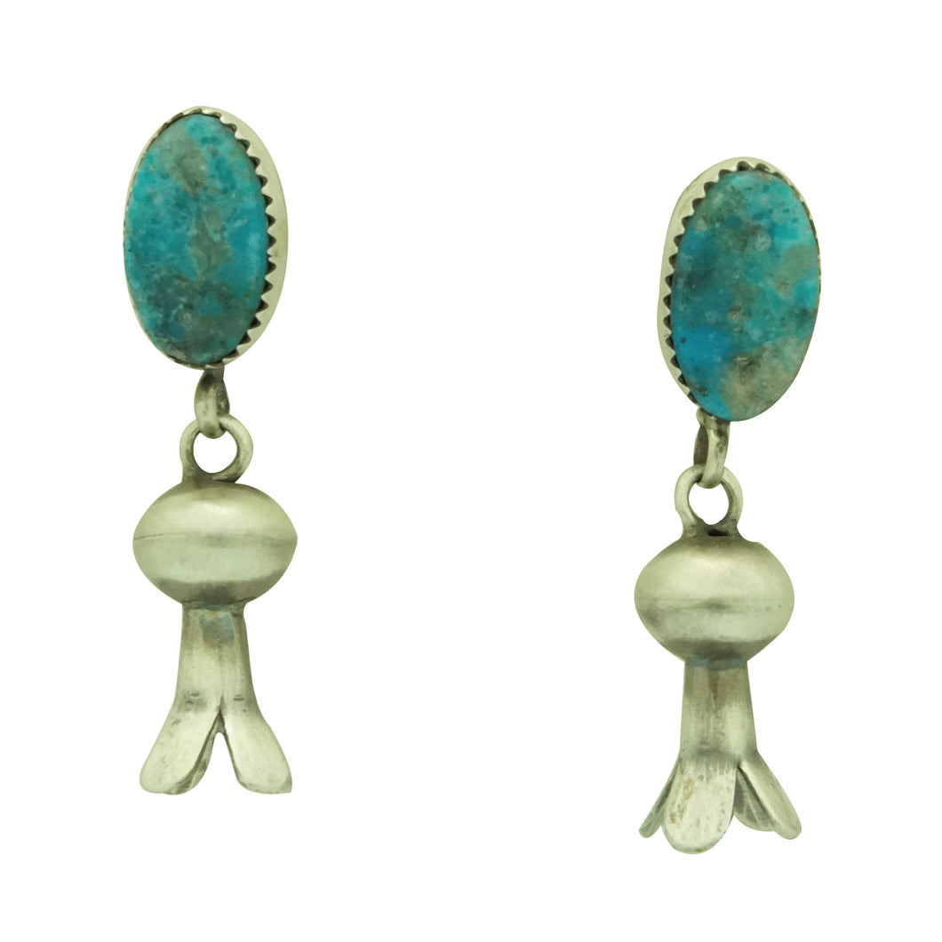 Selena Warner, Earrings, Turquoise, Squash Blossom Design,  Navajo Made, 1 5/8