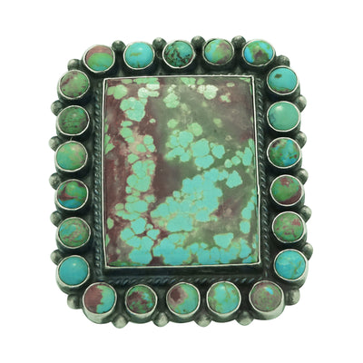 Load image into Gallery viewer, Anthony Skeets, Cluster Ring, Kingman Turquoise, Silver, Navajo Handmade, 8
