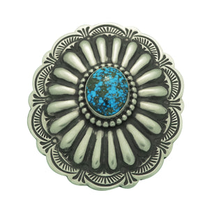 Arnold Blackgoat, Ring, Morenci Turquoise, Concho Design, Navajo Handmade, 7