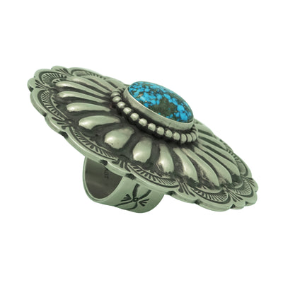 Load image into Gallery viewer, Arnold Blackgoat, Ring, Morenci Turquoise, Concho Design, Navajo Handmade, 7