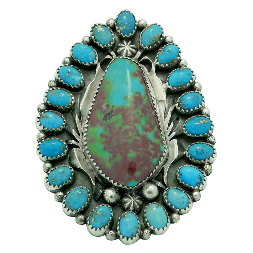 Marcus Chavez, Ring, Turquoise Mountain, Cluster, Silver, Navajo Handmade, 8