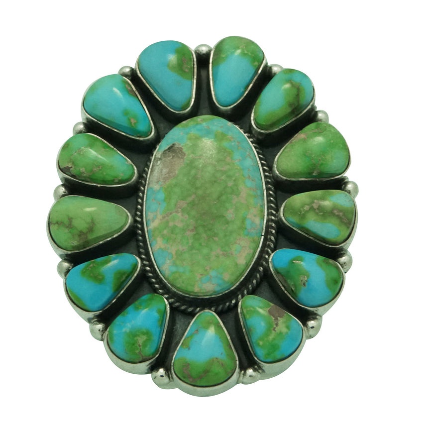 Darrell Cadman, Ring, Cluster, Sonoran Gold Turquoise, Stamping, Navajo Made, 9