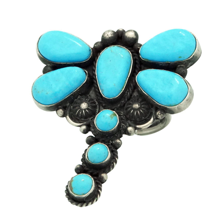 Tyler Brown, Ring, Kingman Turquoise, Dragonfly, Silver, Navajo Handmade, 7