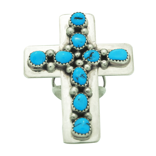 Melvin, Tiffany Jones, Ring, Cross, Kingman Turquoise, Silver, Navajo Made, 7