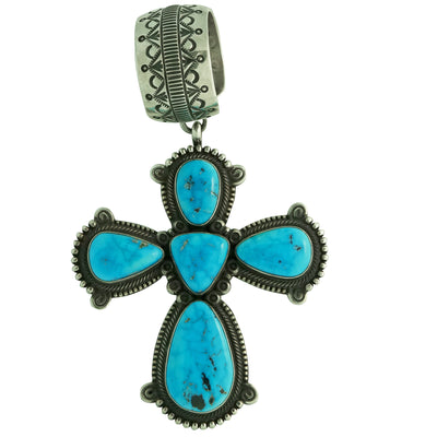 Load image into Gallery viewer, Terry Martinez, Pendant, Cross, Kingman Turquoise, Stamping, Navajo Made, 4 3/4""