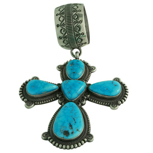 Terry Martinez, Pendant, Cross, Kingman Turquoise, Stamping, Navajo Made, 4 3/4""