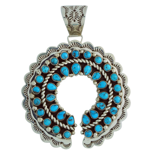 Kenneth Jones, Pendant, Naja, Kingman Turquoise, Navajo Handmade, 3 3/4