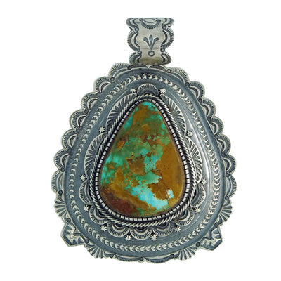Load image into Gallery viewer, Hank Vandever, Pendant, Pilot Mountain Turquoise, Navajo Handmade, 3 7/8""