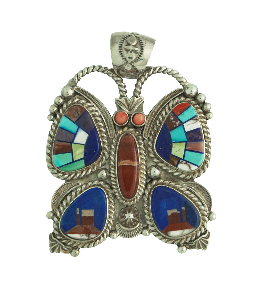 Randy Boyd, Calvin Desson, Pendant, Butterfly, Monument Valley, Navajo, 2 1/2