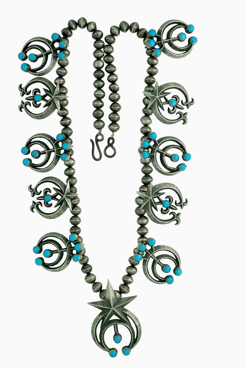 Aaron Anderson, Necklace, Naja Designs, Navajo Pearls, Kingman Turquoise, 24