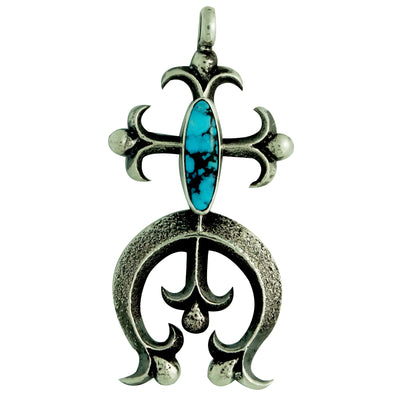 Load image into Gallery viewer, Aaron Anderson, Pendant, Tufa Cast, Morenci Turquoise, Naja, Navajo, 2 1/2""