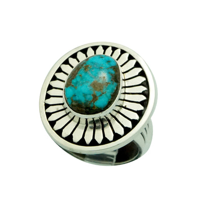 Load image into Gallery viewer, Leonard Nez, Ring, Overlay Design, Easter Blue Turquoise, Navajo Made, 7 1/2