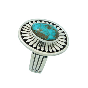 Leonard Nez, Ring, Overlay Design, Easter Blue Turquoise, Navajo Made, 7 1/2