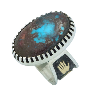 Load image into Gallery viewer, Arland Ben, Ring, 14k Gold, Sterling, Bisbee Turquoise, Petroglyph, Navajo, 9