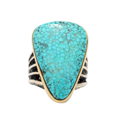 Aaron Anderson, Ring, 14k Gold, Silver, Turquoise Mountain, Navajo, 6 1/2
