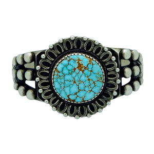 Calvin Martinez, Bracelet, Number Eight Turquoise, Revival, Navajo Made, 6 5/8""