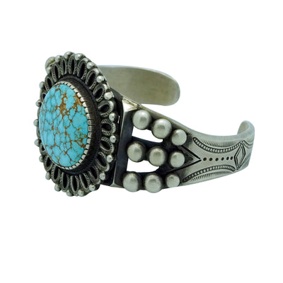Load image into Gallery viewer, Calvin Martinez, Bracelet, Number Eight Turquoise, Revival, Navajo Made, 6 5/8""