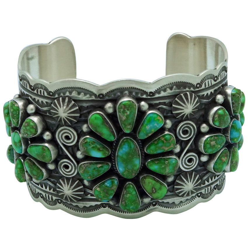 Darrell Cadman, Bracelet, Sonoran Gold Turquoise, Cluster, Navajo Made, 6 7/8