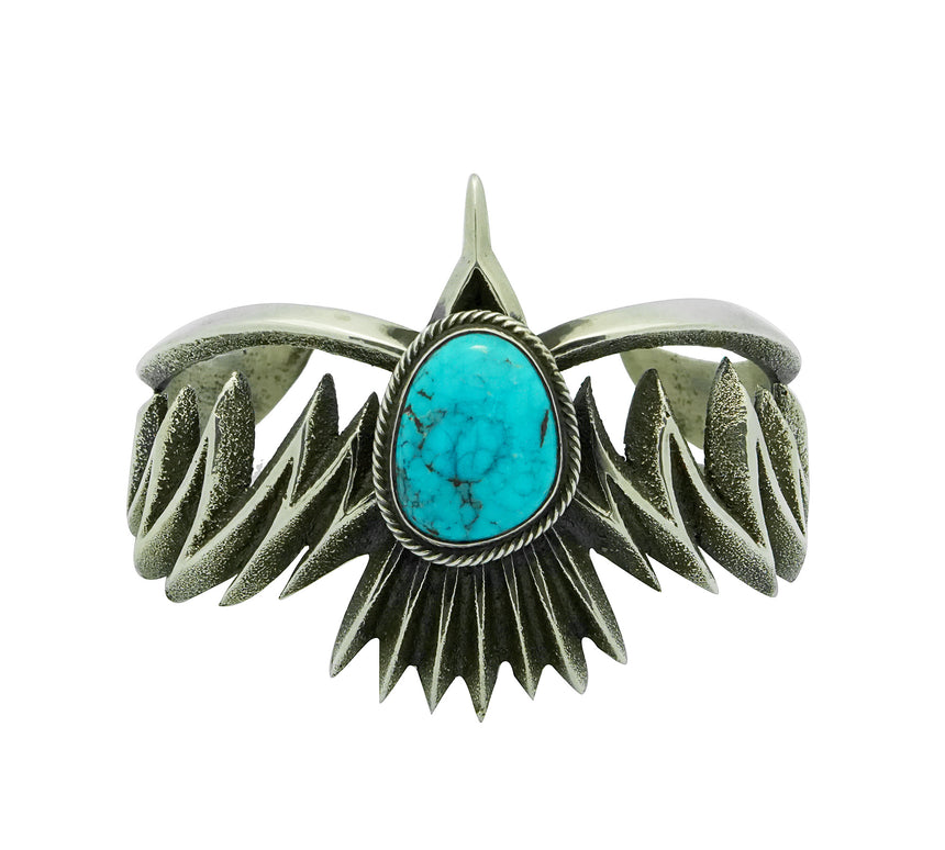 Aaron Anderson, Bracelet Design, Eagle, Kingman Turquoise, Navajo Made, 6 3/4