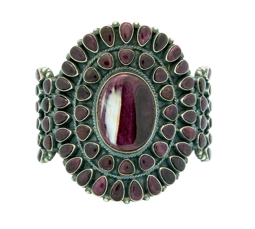 Anthony Skeets, Bracelet, Purple Spiny Oyster Shell, Heavy, Navajo Made, 6 5/8