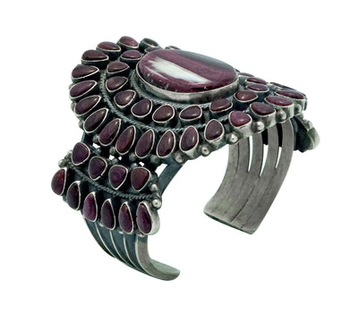 Load image into Gallery viewer, Anthony Skeets, Bracelet, Purple Spiny Oyster Shell, Heavy, Navajo Made, 6 5/8""