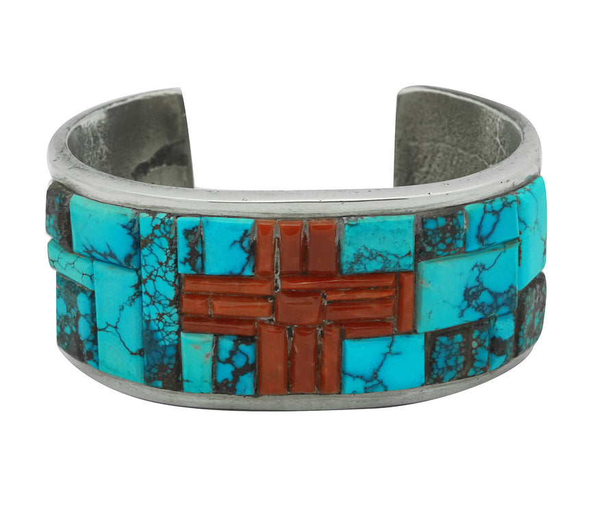 Lester James, Bracelet, Four Directions, Coral, Turquoise, Navajo Made, 7 1/8