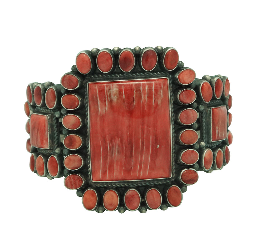 Anthony Skeets, Bracelet, Red Spiny Oyster Shell, Silver, Navajo Made, 6 5/8