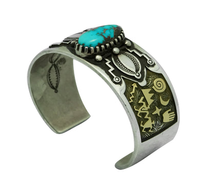 Load image into Gallery viewer, Arland Ben, Bracelet, Bisbee Turquoise, 14k Gold, Silver, Navajo Made, 6 3/4""