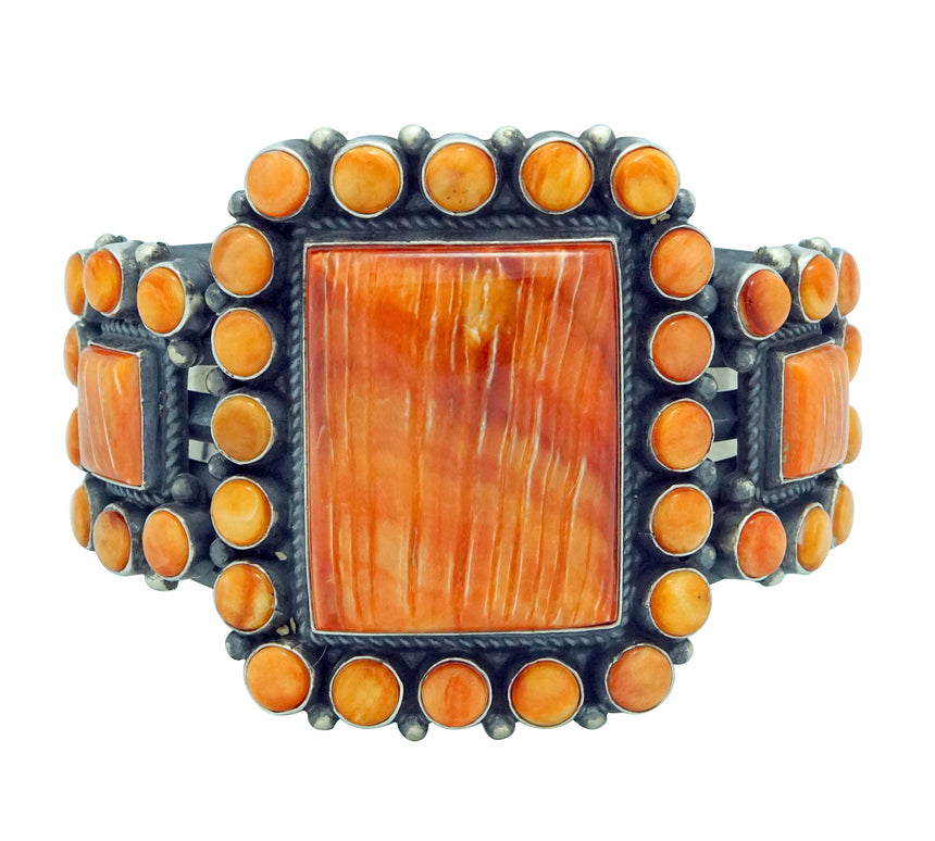 Anthony Skeets, Bracelet, Orange Spiny Oyster Shell, Heavy, Navajo Made, 6 5/8