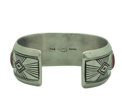 Load image into Gallery viewer, Calvin Martinez, Bracelet, Mediterranean Coral, Stamping, Navajo Made, 6 1/2""