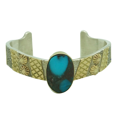 Load image into Gallery viewer, Marc Antia, Bracelet, Silver, 14k Gold, Bisbee Turquoise, Apache, German, 6 1/2""