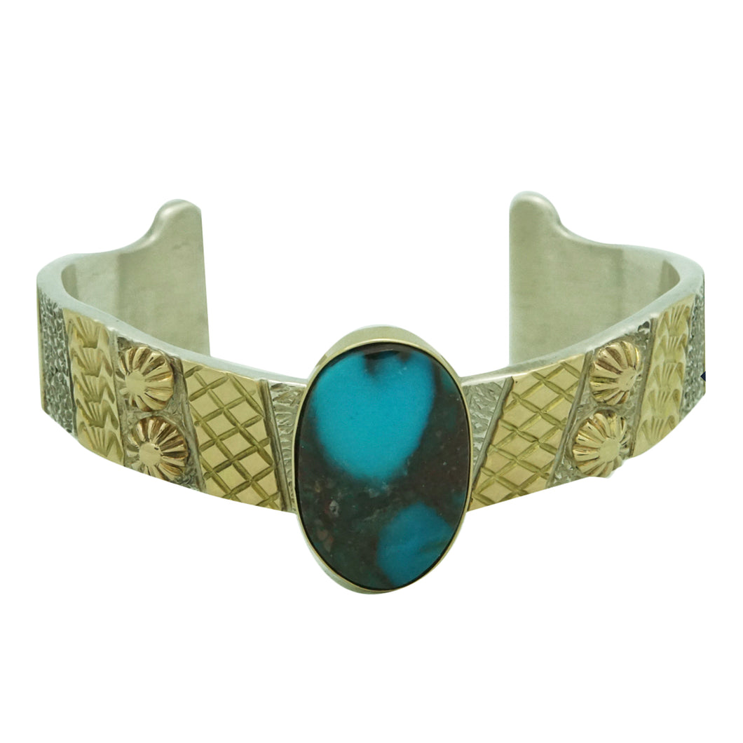Marc Antia, Bracelet, Silver, 14k Gold, Bisbee Turquoise, Apache, German, 6 1/2