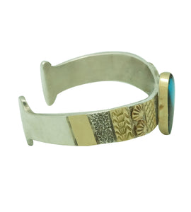 Marc Antia, Bracelet, Silver, 14k Gold, Bisbee Turquoise, Apache, German, 6 1/2""