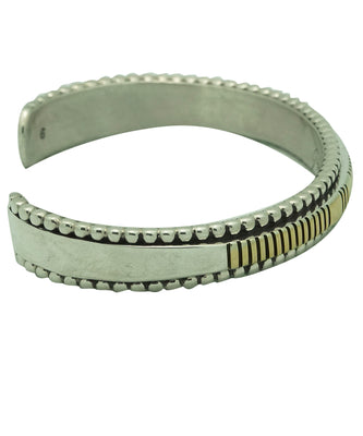 Load image into Gallery viewer, Jonathan Nez, Bracelet, Silver, 14k, Narrow, Wire, Navajo Handmade, 6 3/4""