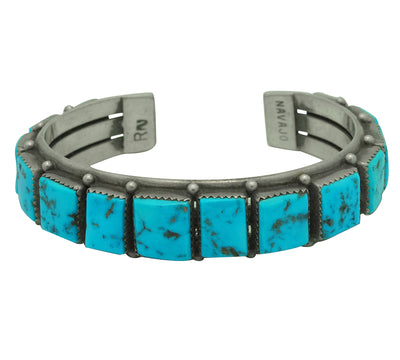 Load image into Gallery viewer, Navajo Handmade Bracelet, Circa 1970s, Sleeping Beauty Turquoise, RN, 6 3/4""