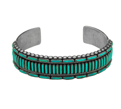Load image into Gallery viewer, Cal Eustace, Bracelet, Turquoise Needlepoint, Circa 1970s, Zuni Handmade, 6 3/8""