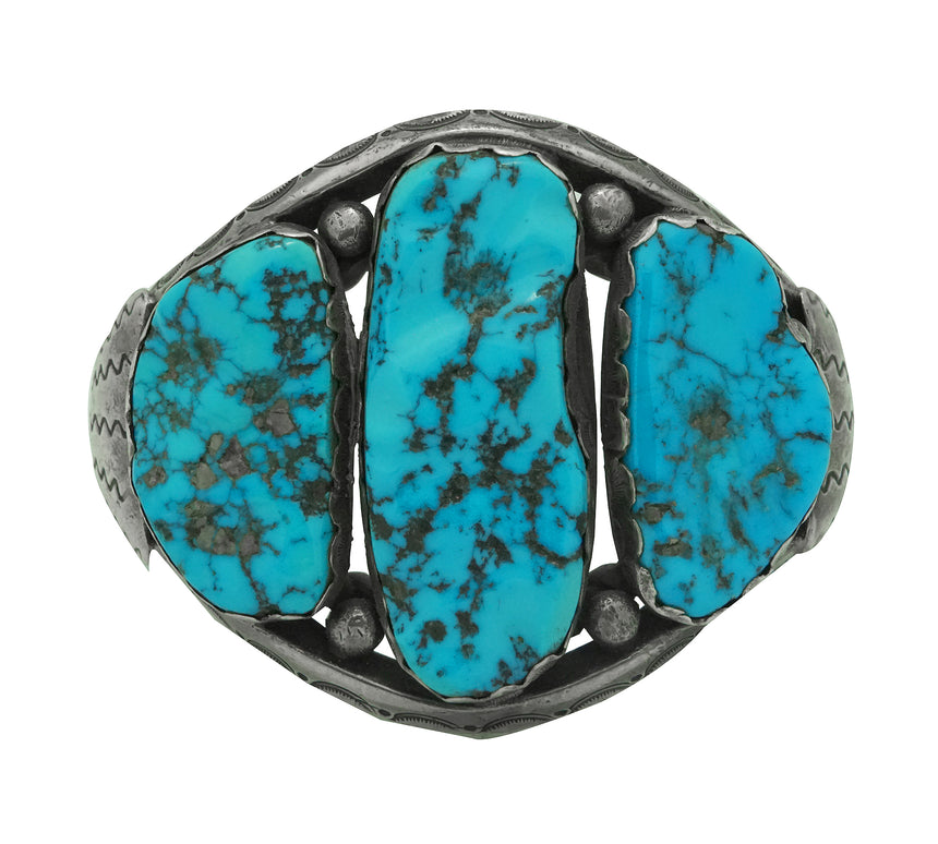 Navajo Handmade Bracelet, Sleeping Beauty Turquoise, Unsigned, Circa 1960s, 7