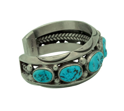 Load image into Gallery viewer, Orville Tsinnie, Bracelet, Circa 1980, Sleeping Beauty Turquoise, Navajo, 6 3/8""