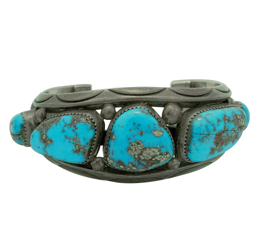Orville Tsinnie, Bracelet, Circa 1970s, Morenci Turquoise, Navajo Made, 6 1/4