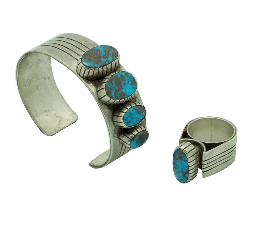Navajo Handmade, Bracelet, Ring Set, Persian Turquoise, Attributed Paul Arviso