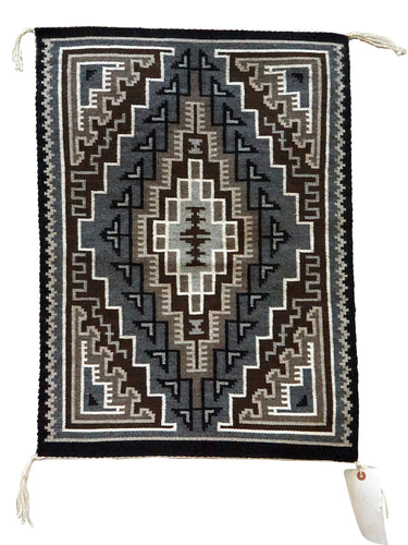 Risa Becker, Two Grey Hills, Navajo Handwoven Rug, Single Diamond, 28
