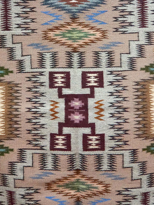 "Load image into Gallery viewer, La Rose Bia, Storm Pattern, Navajo Rug, Burnt Water, Handwoven, 37"" x 49 1/2"""