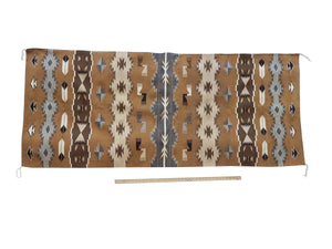 "Emily Yazzie, Chinle, Pictorial, Navajo Rug, Two Grey Hill Color, 34"" x 83"""