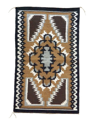 "Load image into Gallery viewer, Nora Silago, Two Grey Hills, Navajo Handwoven Rug, Single Diamond, 18"" x 30"""